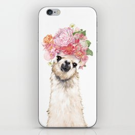 Llama with Beautiful Flowers Crown iPhone Skin