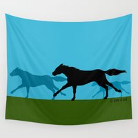 horses Wall Tapestries featuring Horses by joanfriends