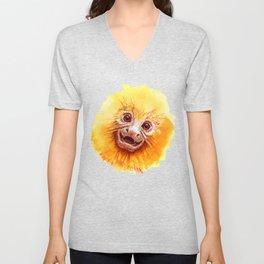 Golden Lion Tamarin Monkey baby smiling Unisex V-Neck