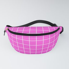 Purple pizzazz - pink color - White Lines Grid Pattern Fanny Pack