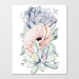 Pastel Succulents by Nature Magick Canvas Print