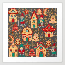 Fairy gnomes and magic houses.  Christmas trees, months and stars. Pattern in folk style. Art Print