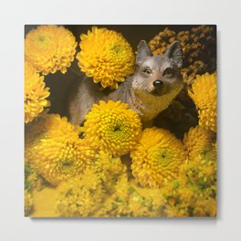 The Wolf & The Yellow Flowers Metal Print