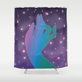 Blue Rainbow Holly Hand in Universe Shower Curtain