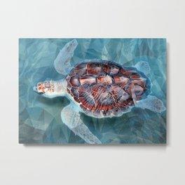 Sea Turtle In The Waves Metal Print