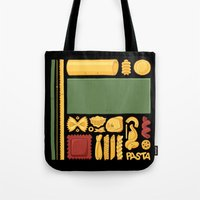pasta Tote Bags featuring Pasta Mondrian by Chayground