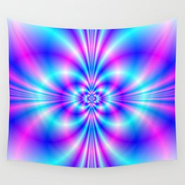 Butterfly Quatrefoil in Blue and Pink Wall Tapestry