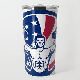 American Physical Fitness USA Flag Icon Travel Mug