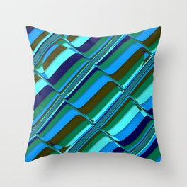 Vibrant Tiles in Blue, Green, Navy and Mint Throw Pillow