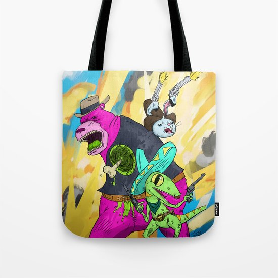 Floating BunnyHead Western Action  Tote Bag