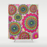 funky Shower Curtains featuring Funky flowers by Shelly Bremmer