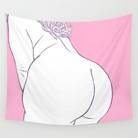 booty Wall Tapestries featuring Pinky by Bloozchicken