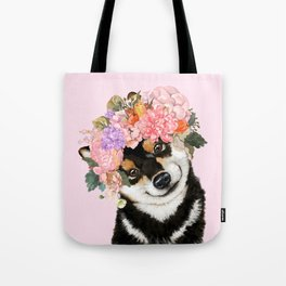 Black Shiba Inu with Flower Crown Pink Tote Bag