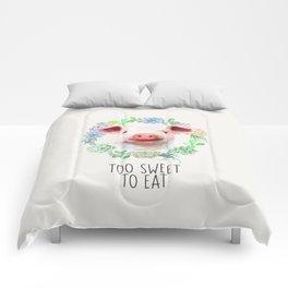 Too Sweet to Eat Vegan Statement Pig Watercolor Comforters