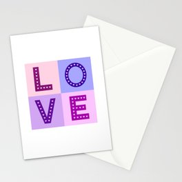 Love Hearts Love Type Pinks Purples Stationery Cards