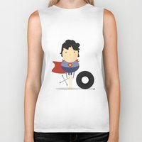 super hero Biker Tanks featuring My Super hero! by Juliana Rojas | Puchu