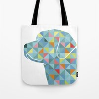 labrador Tote Bags featuring Geo Labrador by Jonathan Hall