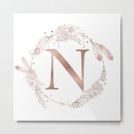 Letter N Rose Gold Pink Initial Monogram Metal Print