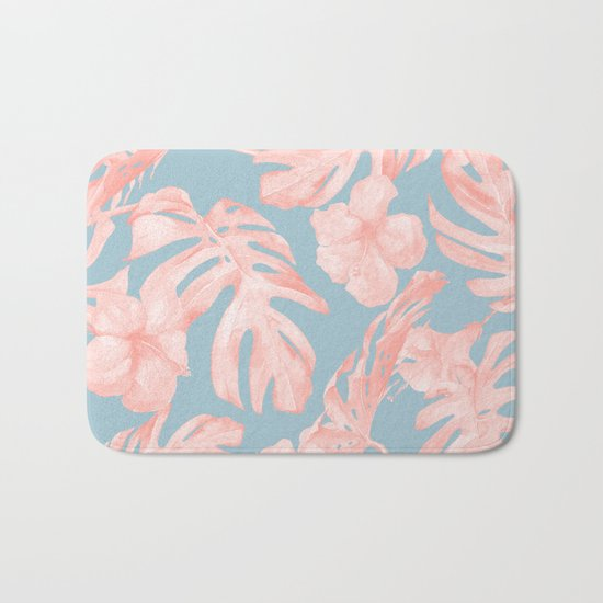 Island Life Millennial Pink on Pale Teal Blue Bath Mat