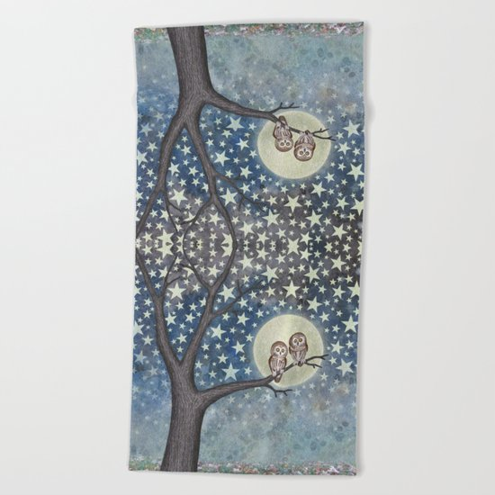 northern saw whet owls under the stars Beach Towel