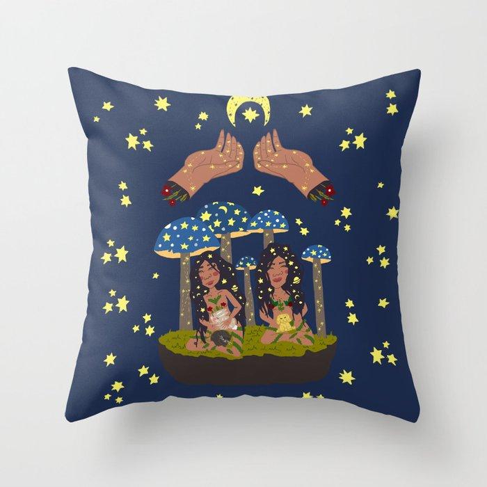 Magic Sisters Throw Pillow