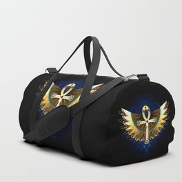 Gold Ankh with Wings Duffle Bag