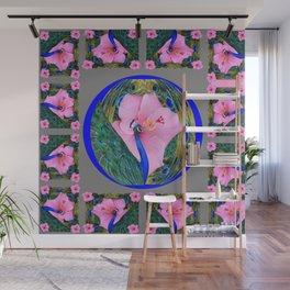 GREY PINK HIBISCUS FLOWERS & BLUE-GREEN PEACOCK Wall Mural