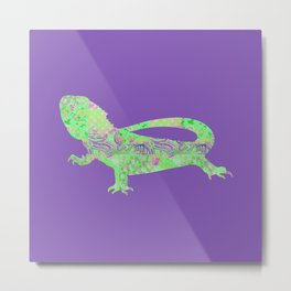 Bearded Dragon Vintage Floral Pattern Purple Green Mint Pink Shabby Chic Metal Print