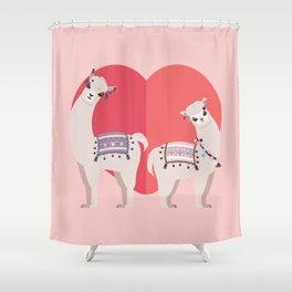 Llama and Alpaca with love Shower Curtain