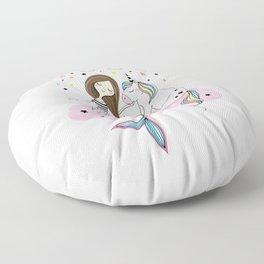 Mermaid & Unicorn White background Floor Pillow