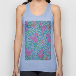 Flamingo Jungle Party Print Unisex Tank Top