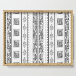 Mud Cloth White and Black Vertical Pattern Serving Tray