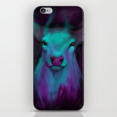 watercolor space deer iPhone Skin