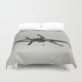 Spider on Barbed Wire in Black and White Duvet Cover