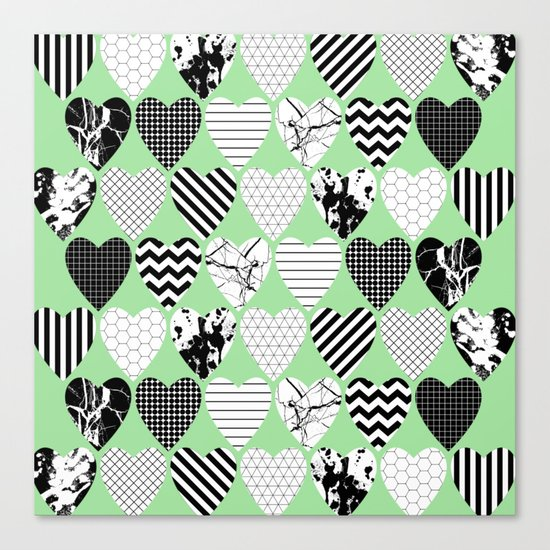 Hearts On Pastel Green - Abstract, black and white, geometric Canvas Print