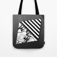 Stripes N Marble 3 - Abstract Black and white stripes and marble textured triangles on metallic Tote Bag