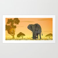 africa Art Prints featuring africa by Priscila Arandiga