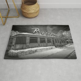 Rosie's Diner Photograph in Infrared Black & White by Rockford, Michigan Rug