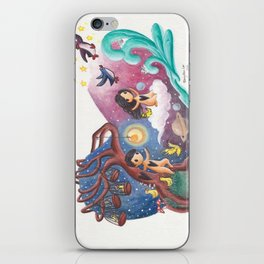 Girl Flying Off with Penguins, Leaving Boy, Cages and Ducks on His Planet iPhone Skin