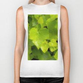 Green leaves with dew Biker Tank