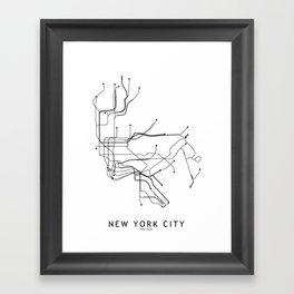 New York City White Subway Map Framed Art Print