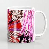 alisa burke Mugs featuring messy flowers by Alisa Burke