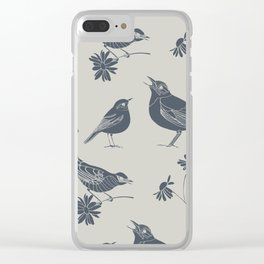 Birds and Daisies, drawing in blue and grey Clear iPhone Case