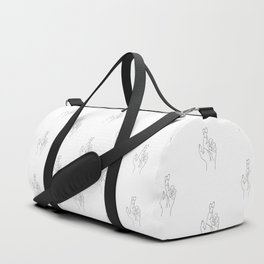 Fingers crossed. Minimal hand line drawing Duffle Bag