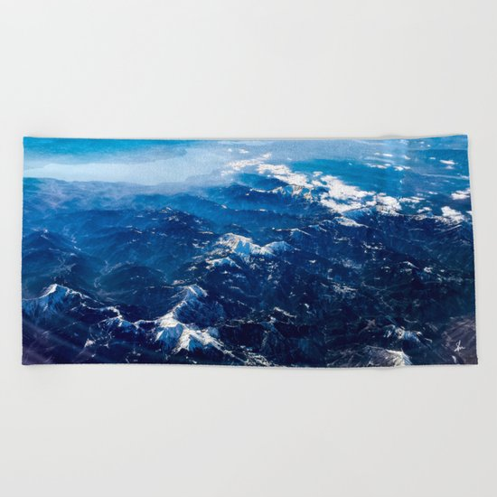 Mountains with snow winter nature Beach Towel