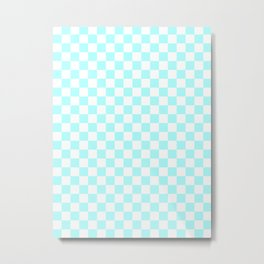 Small Checkered - White and Celeste Cyan Metal Print