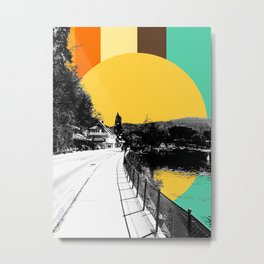Slovenia, Bled Black and White Photo with Painted Sunrise Metal Print