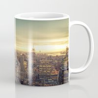 new york skyline Mugs featuring New York Skyline Cityscape by Vivienne Gucwa