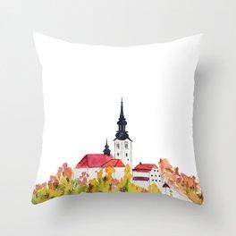 Slovenia Bled Lake pilgrimage church Throw Pillow