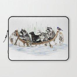 """ Critter Canoe "" wildlife rowing up river Laptop Sleeve"